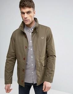 Куртка-френч оливкового цвета с капюшоном Fred Perry - Зеленый