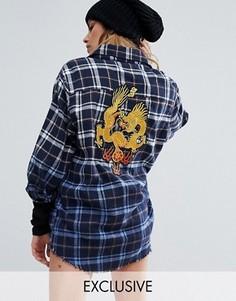 Клетчатая рубашка с необработанными краями и нашивкой сзади Reclaimed Vintage - Синий
