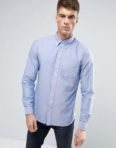 Синяя узкая оксфордская рубашка на пуговицах Fred Perry - Синий