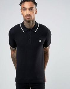Черная трикотажная футболка-поло в клетку Fred Perry - Черный