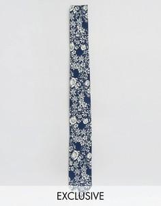 Галстук с цветочным принтом Noose & Monkey - Темно-синий
