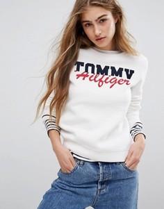 Свитшот с контрастным логотипом Tommy Hilfiger - Белый