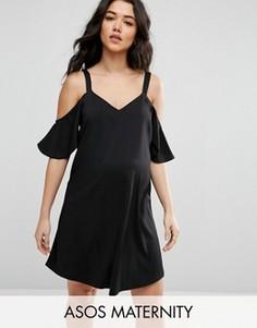 Платье-комбинация с открытыми плечами ASOS Maternity - Черный