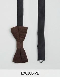 Вельветовый галстук-бабочка Heart & Dagger - Коричневый