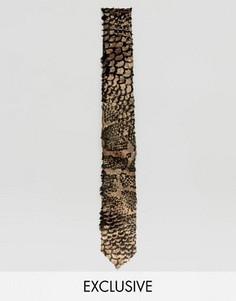 Бархатный галстук со змеиным принтом Noose & Monkey - Черный