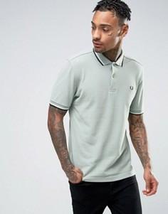 Узкая футболка-поло из пике с двухцветным кантом Fred Perry - Синий