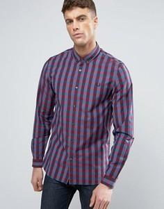 Узкая рубашка в клеточку на пуговицах Fred Perry - Красный
