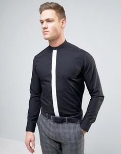 Узкая рубашка с контрастной планкой Selected Homme - Черный