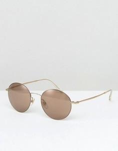 Солнцезащитные очки с круглой золотистой оправе Gucci - Золотой