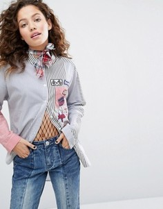 Рубашка в стиле колор блок с нашивками H! By Henry Holland - Синий