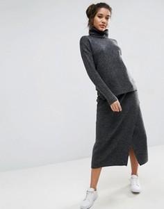 Комбинируемая вязаная юбка миди с запахом спереди ASOS - Серый