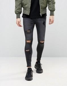 Суперзауженные джинсы с рваной отделкой SikSilk - Черный