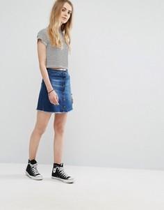 Джинсовая мини-юбка на пуговицах с необработанной кромкой Brave Soul - Синий