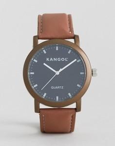 Часы с черным круглым циферблатом и коричневым ремешком Kangol - Коричневый
