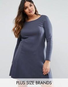 Платье-трапеция с длинными рукавами Junarose - Темно-синий