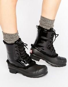 Оригинальные кожаные ботинки на шнуровке Hunter - Черный