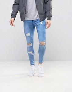 Суперзауженные джинсы с рваной отделкой SikSilk - Синий