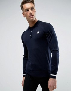 Fred Perry REISSUES Knit Polo Long Sleeve Tipped Cuff in Navy/White - Темно-синий