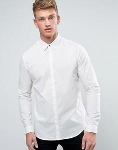 Бежевая рубашка классического кроя с геометрическим принтом New Look - Белый
