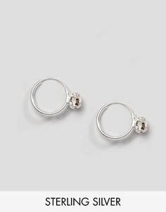 Серебряные серьги-кольца с камнем Kingsley Ryan - Серебряный