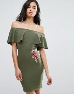 Платье с открытыми плечами и вышивкой розы Parisian - Зеленый