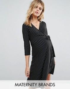 Платье в тонкую полоску с запахом New Look Maternity - Черный