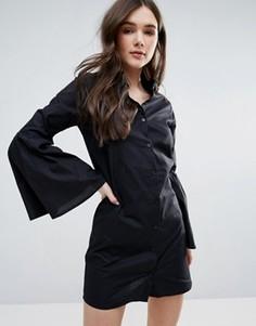 Хлопковое платье-рубашка с расклешенными рукавами Influence - Черный