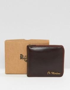 Кожаный кошелек на молнии Dr Martens - Коричневый