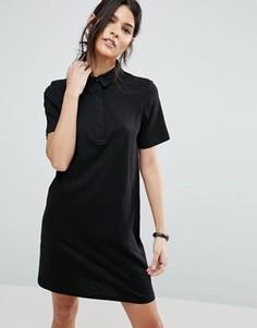 Однотонное платье-поло ASOS - Черный