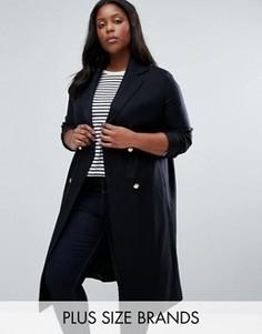 Пальто в стиле милитари с добавлением шерсти Helene Berman Plus - Темно-синий