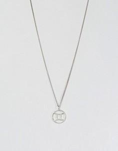 Серебряное ожерелье со знаком зодиака Близнецы Fashionology - Серебряный