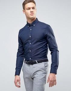 Строгая рубашка узкого кроя из фактурной ткани Burton Menswear - Темно-синий