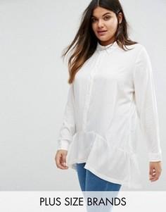 Рубашка с оборкой по краю Junarose Plus - Белый