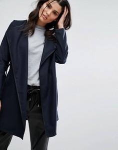 Короткое пальто с ремнем Brave Soul - Темно-синий