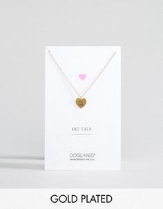 Позолоченное ожерелье с гравировкой For Ever на подвеске-сердце Dogeared - Золотой