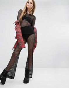 Сетчатые брюки-клеш Tripp NYC - Черный