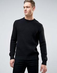 Вязаный фактурный джемпер Burton Menswear - Черный