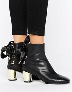 Кожаные ботильоны со шнуровкой на каблуке металлик Lavish Alice - Черный