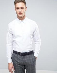 Строгая рубашка узкого кроя с отделкой Burton Menswear - Белый