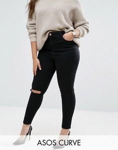 Черные рваные джинсы скинни ASOS CURVE Ridley - Черный