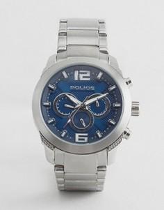 Кварцевые часы с синим циферблатом и хронографом Police - Серебряный