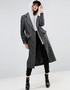 Монохромное фактурное пальто бойфренда ASOS - Мульти