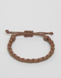 Коричневый плетеный браслет с кожей Jack & Jones Jacwood - Коричневый