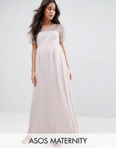 Платье макси с кружевными вставками ASOS Maternity - Серый