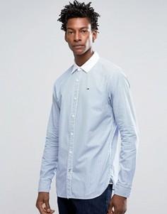 Рубашка классического кроя в полоску с белым воротником Hilfiger Denim - Синий