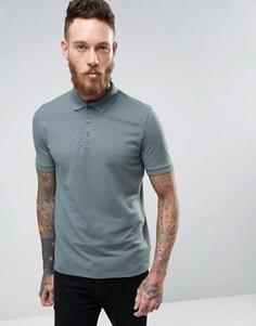 Синяя меланжевая футболка-поло ASOS - Синий