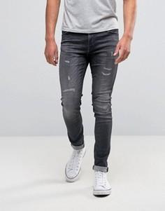 Серые джинсы скинни с рваной отделкой Jack & Jones Intelligence - Серый