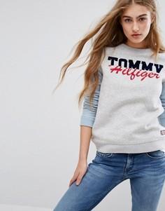 Свитшот с логотипом и контрастными рукавами Tommy Hilfiger - Серый