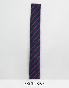 Льняной галстук в полоску Noak - Темно-синий