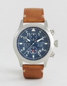 Часы-хронограф с коричневым кожаным ремешком Jack Mason Aviation 42 мм - Коричневый